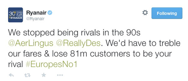 Ryanair Response on Twitter