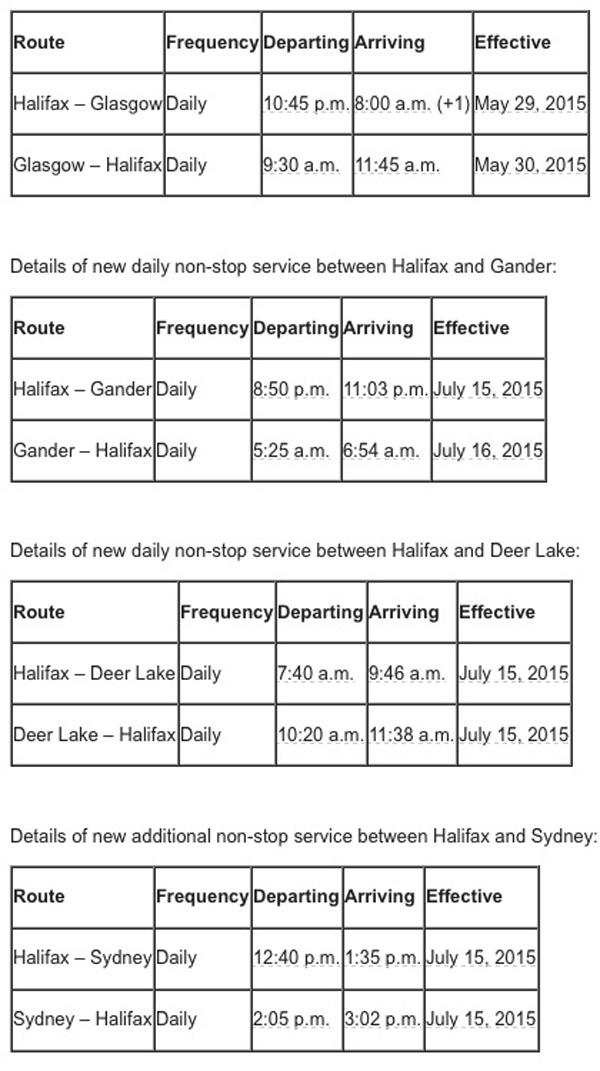 WestJet Halifax 2015 New Summer Routes