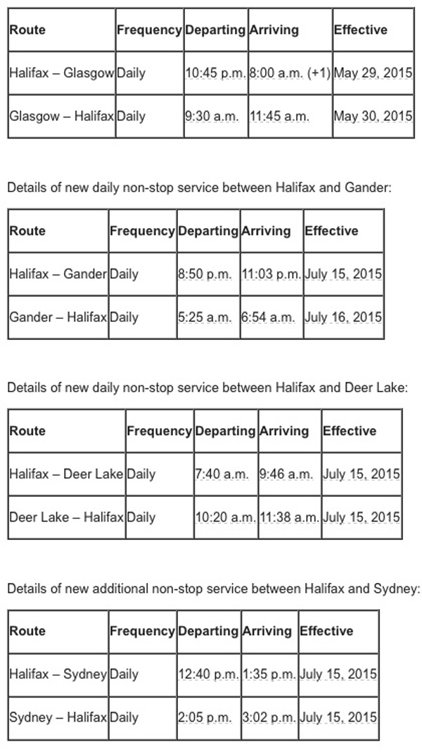 WestJet Halifax 2015 New Summer Routes
