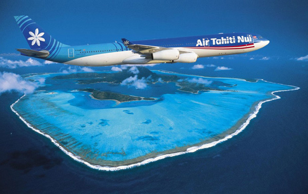 Air Tahiti Nui over Bora Bora (ATN)(LR)