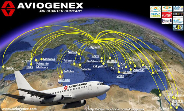 Aviogenex 2.2015 Route Map