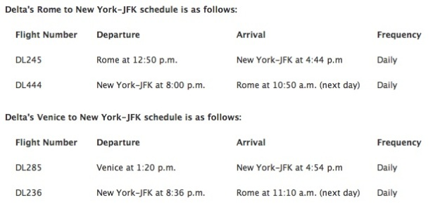 Delta JFK-Italy 2015 Schedule