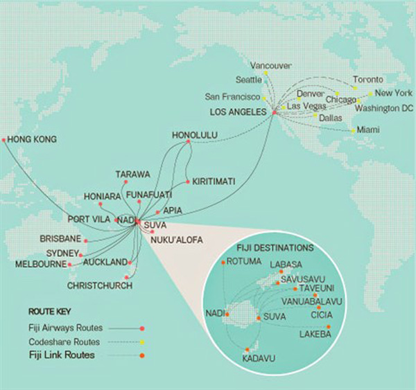 Fiji Airways 2.2015 Route Map