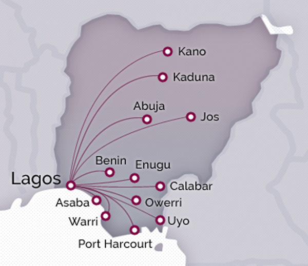 Arik Air 3.2015 Domestic Route Map