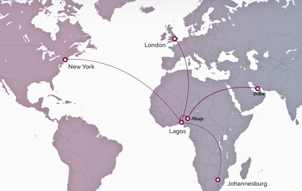 Arik Air 3.2015 International Route Map
