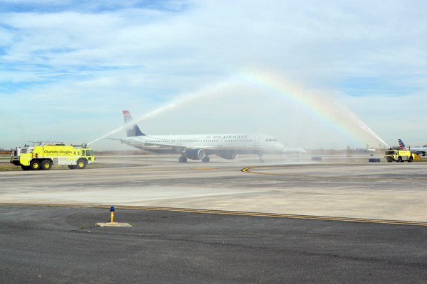 Connie Tobias A321 water cannon salute (JS)(LRW)