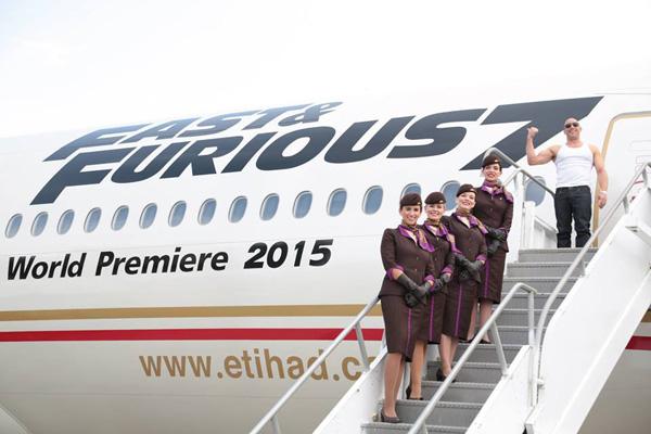 Etihad 777-200LR A6-LRE (15-Fast and Furious 2015)(cabin crew + Vin Diesel 1) LAX (Etihad)(LRW)