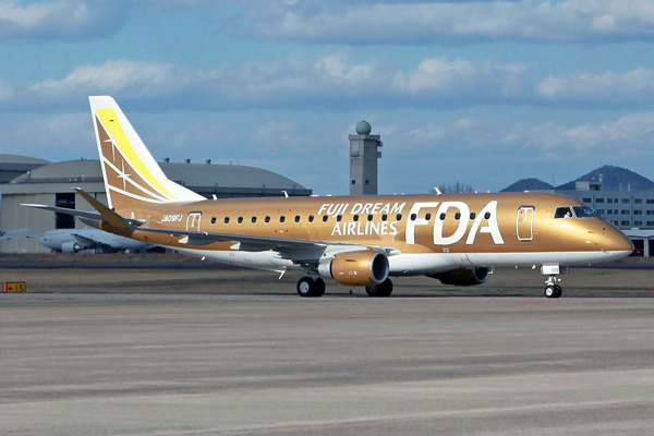 FDA-Fuji Dream Airlines ERJ 175 JA09FJ (09-gold)(Grd)(FDA)(LRW)