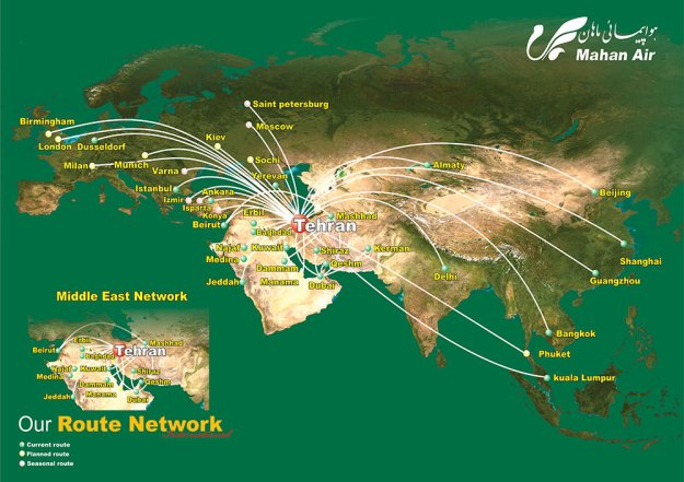 Mahan Air 3.2015 Route Map