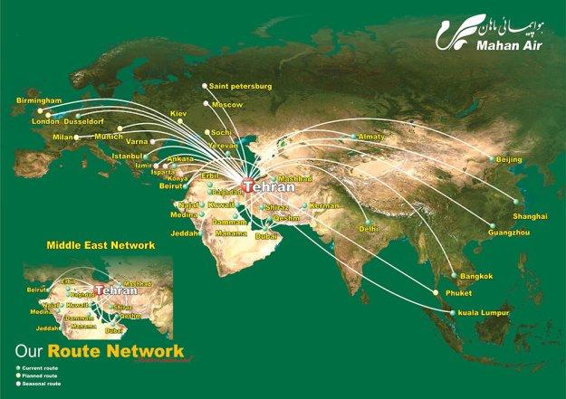 Mahan Air 3.2015 Route Map