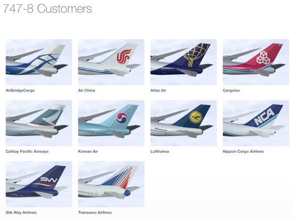 Boeing 747-8 Customers