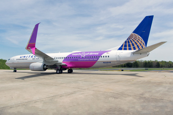 United Airlines Introduces A Purple March Of Dimes Boeing 737 900 Er World Airline News