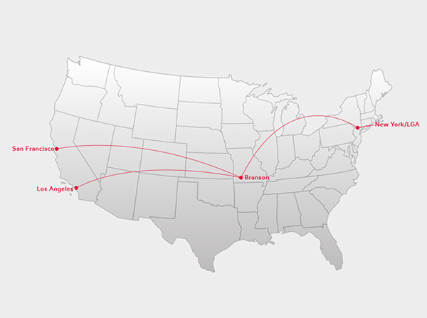 Virgin America Branson Route Map