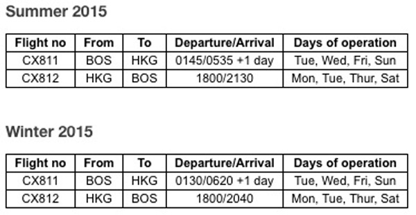 Cathay Pacific BOS-HKG Schedule