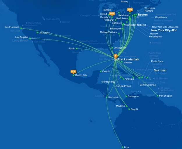 JetBlue FLL 5.2015 Route Map