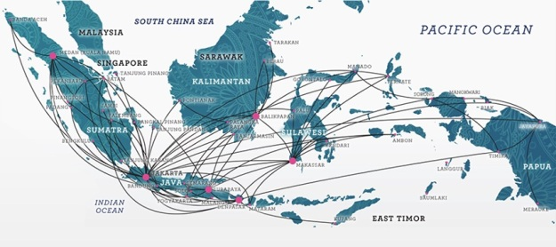 Garuda Indonesia 6.2015 Domestic Route Map