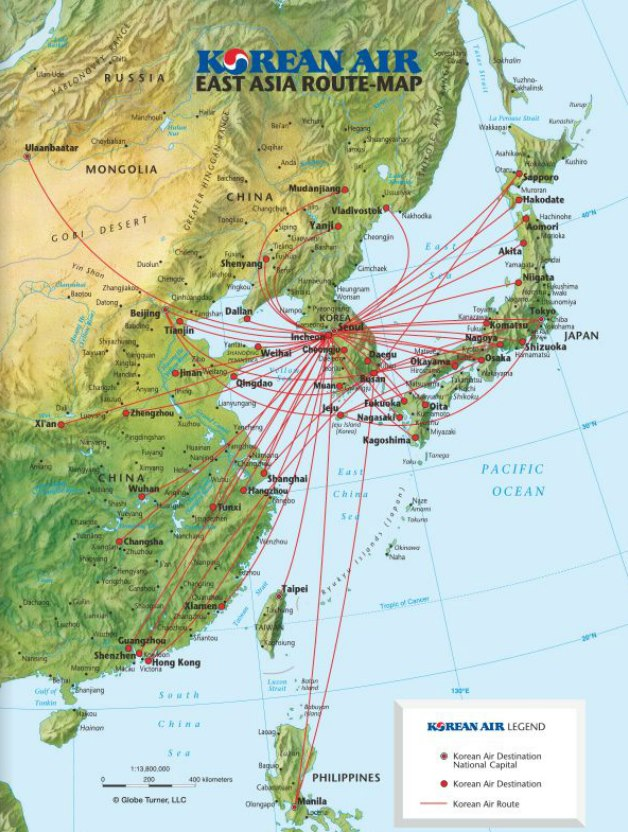 Korean air world airline news page 2 korean air 62015 east asia route map publicscrutiny Images