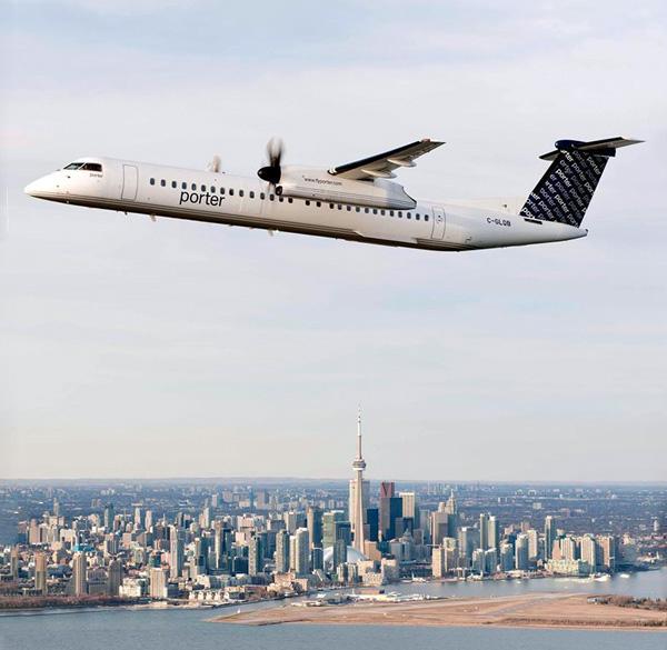 Porter DHC-8-400 over Toronto (Porter)(LR)