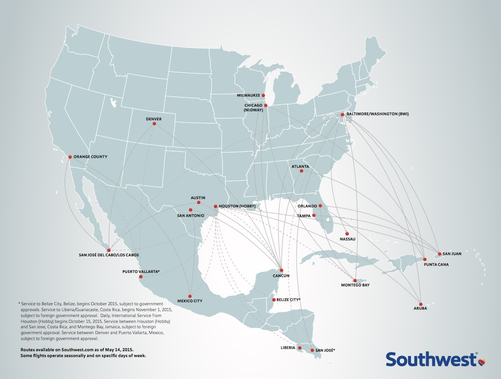 Southwest America Map.Southwest Airlines Crosses The 100 Flight Milestone To Latin America