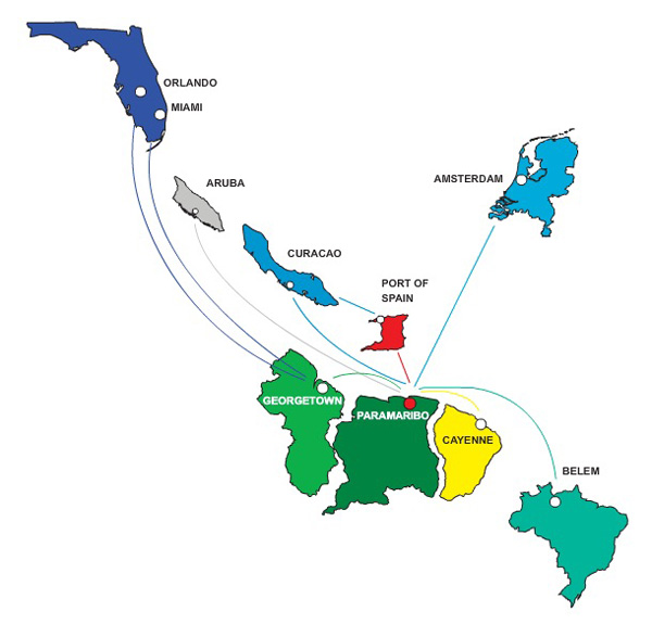 Surinam 6.2015 Route Map