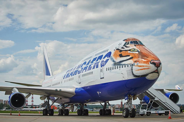 Transaero unveils its Boeing 747-400 Siberian Tiger livery