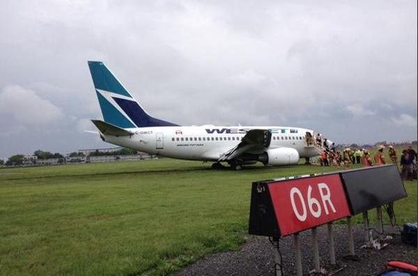 WestJet 737-600 C-GWCT overrun at YUL 6.5.15