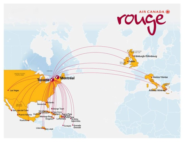 Air Canada rouge 2014 route map
