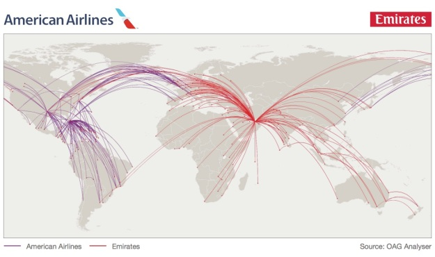 American-Emirates routes
