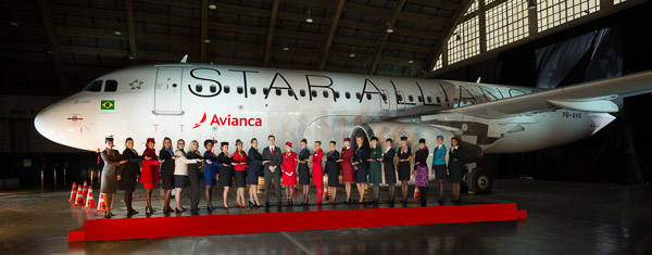 Uniformed Staff from Star Alliance member carriers welcoming their new colleagues from Avianca Brasil at the airline's official joining ceremony in Sao Paulo Brazil.