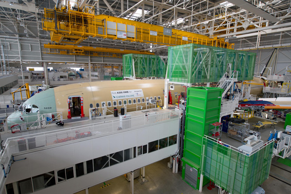 Cathay Pacific 1st A350-900 takes shape at TLS (Airbus)(LRW)