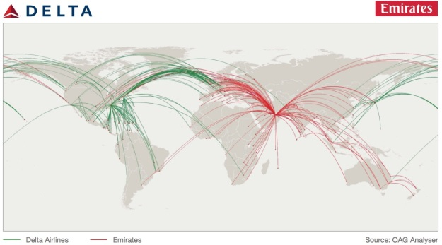 Delta-Emirates routes