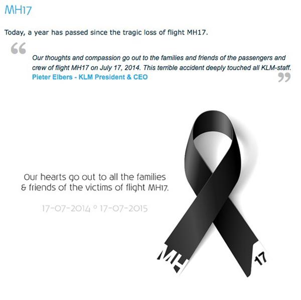 KLM MH17 Mesage
