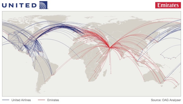 United-Emirates routes