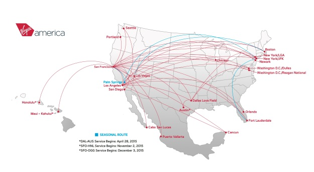 Virgin America 7.2015 Route Map