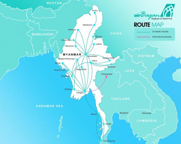 Air Bagan 8.2015 Route Map