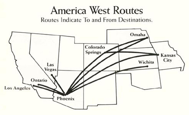 America West 1983 Route Map