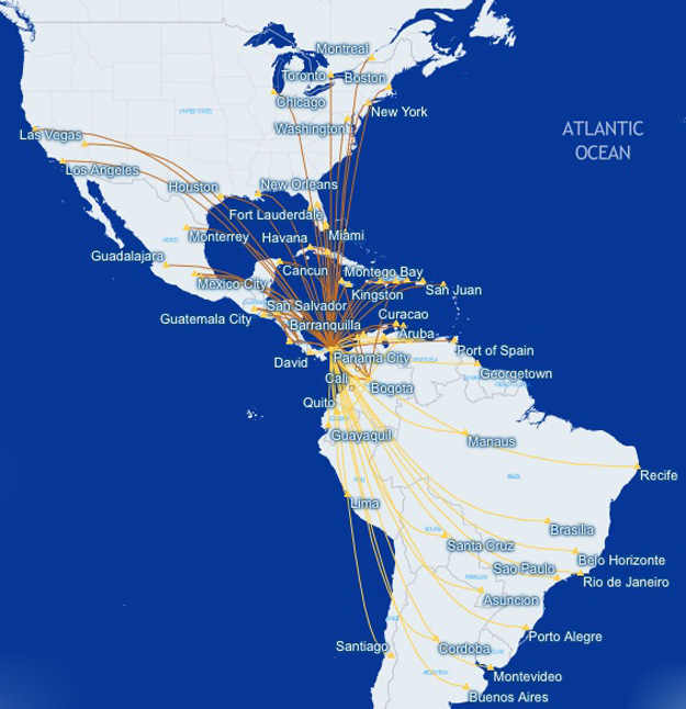 Copa Airlines 8.2015 Route Map