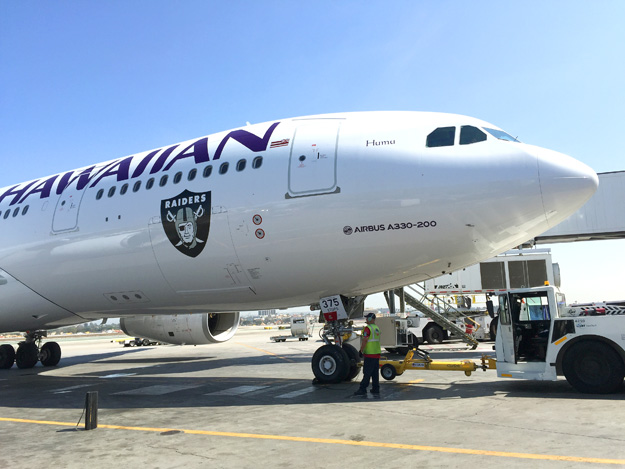 Hawaiian A330-200 N375HA (01-Oakland Raiders)(Nose)(Hawaiian)(LRW)