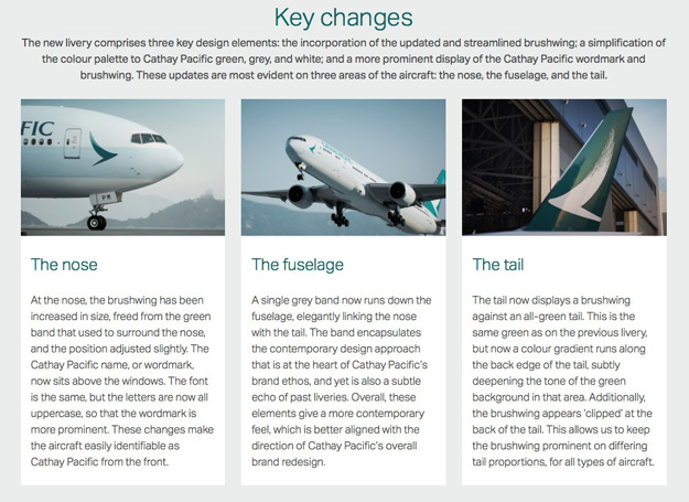 Cathay Pacific 2015 Livery Key Changes