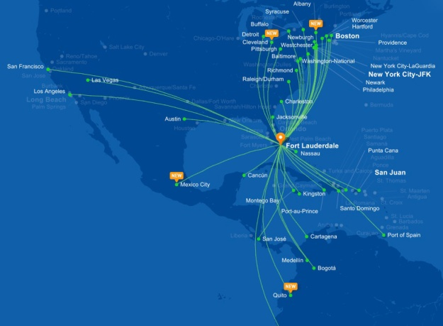 JetBlue 10.2015 FLL Route Map