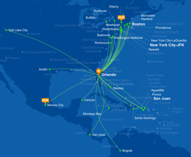 JetBlue 10.2015 MCO Route Map
