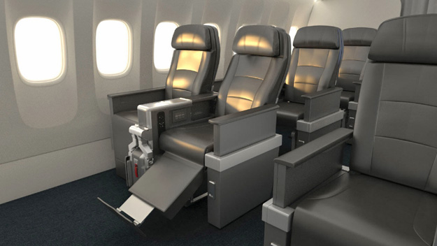 American Airlines Premium Economy seats with bulkhead footrest extended. (PRNewsFoto/American Airlines)