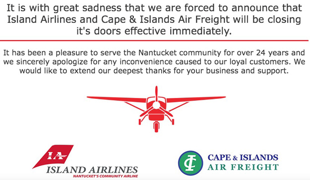 Island Airlines shut down message