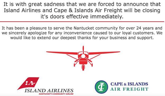 Island Airlines shut down message