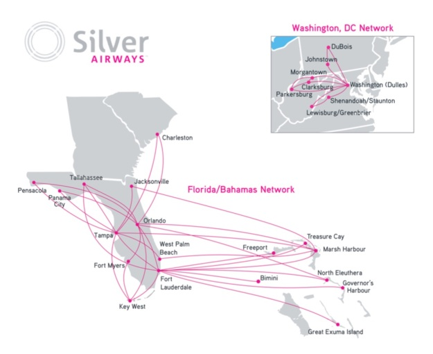 Silver Airways 12.2015 Route Map