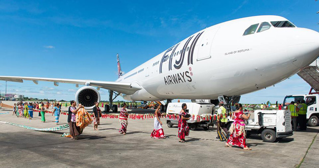 Fiji A330-300 DQ-FJW arrives in Nadi (Fiji)(LR)