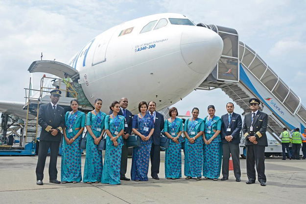 SriLankan A340-300 4R-ALF crew on last flight (SriLankan)(LR)