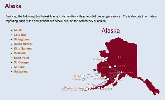 PenAir 5.16 Alaska Route Map