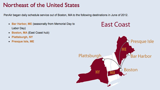 PenAir 5.16 BOS Route Map