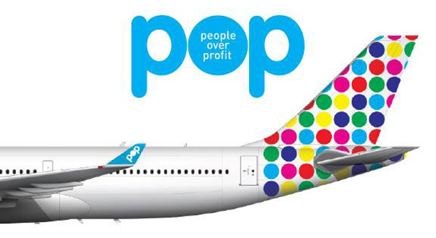POP logo and A330 tail